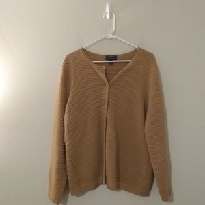 """Lands"""" End Tan Button Up Sweater"""